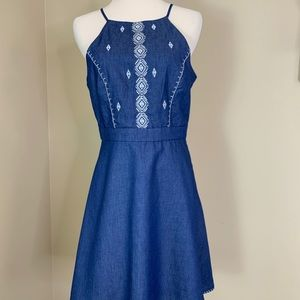 anthropologie Moon River Chambray Open Back Dress